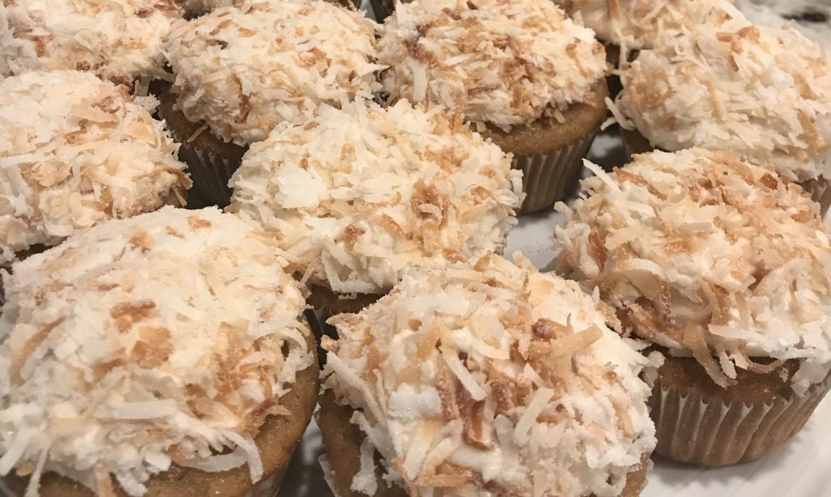 Coconut Cupcakes with Coconut Buttercream and Toasted Coconut