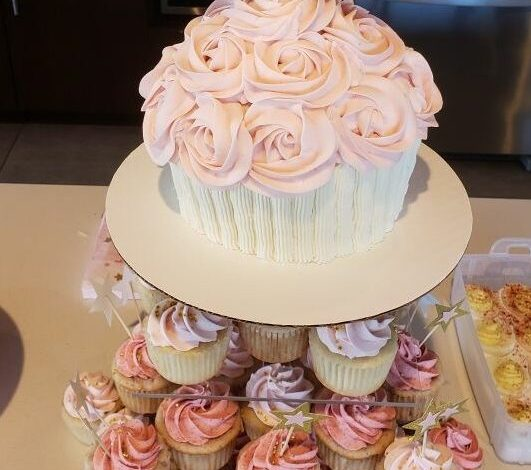 Vanilla Cake with Blush Rose Frosting Jumbo Cupcake